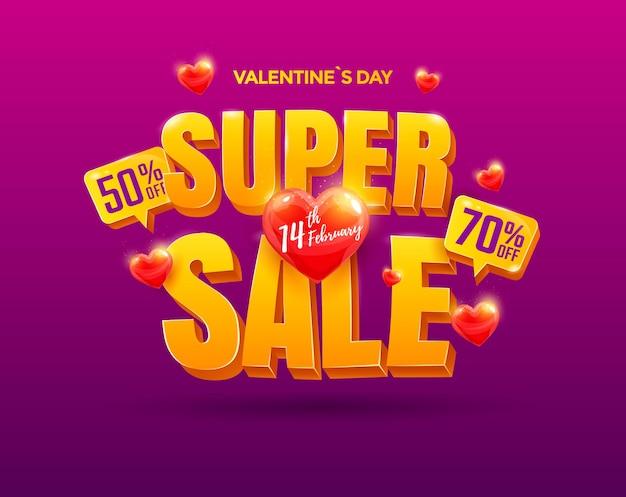 Diseño de super venta de san valentín. hermoso banner con corazón y texto 3d.