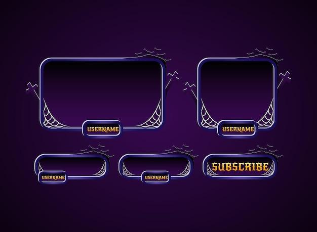 Diseño de superposición de paneles de flujo de twitch de halloween con silueta de telaraña, cruz y murciélago