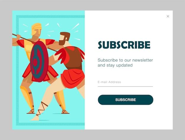 Diseño de suscripción de correo electrónico con guerreros antiguos luchando