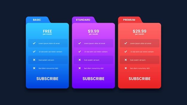Diseño de tabla de precios moderno con tres planes de suscripción