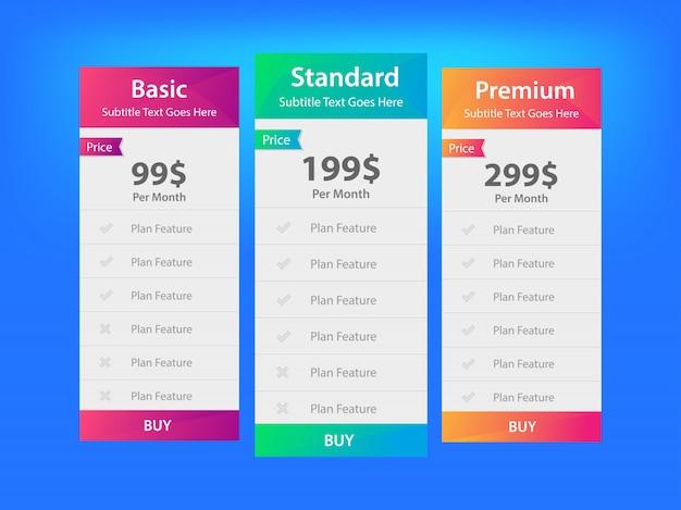 Diseño de tabla de precios - vector