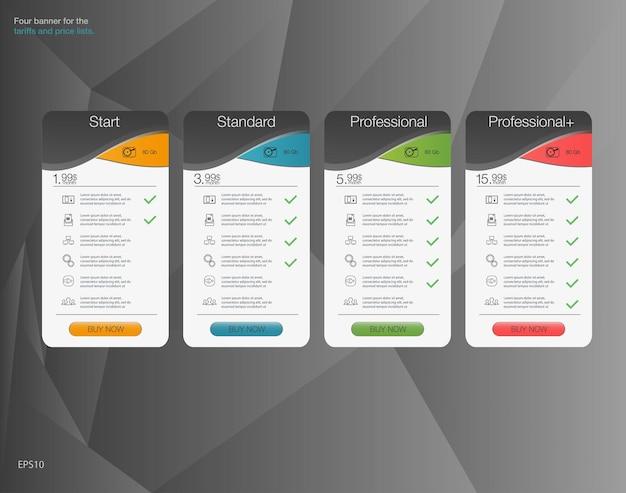 Diseño de tabla de precios web para aplicación web