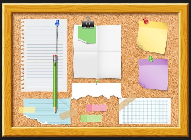 Diseño de tablero de corcho y papeles de nota