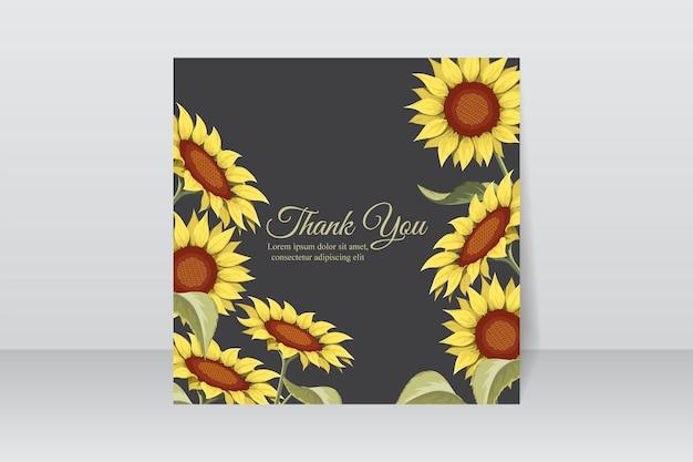 Diseño de tarjeta de agradecimiento con hermosos girasoles.