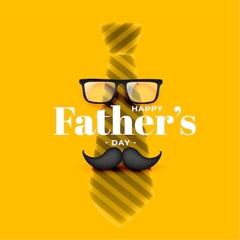 Diseño de tarjeta amarilla realista feliz día del padre