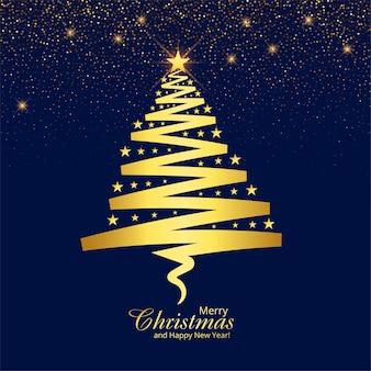 Diseño de tarjeta de árbol dorado de línea artística navideña