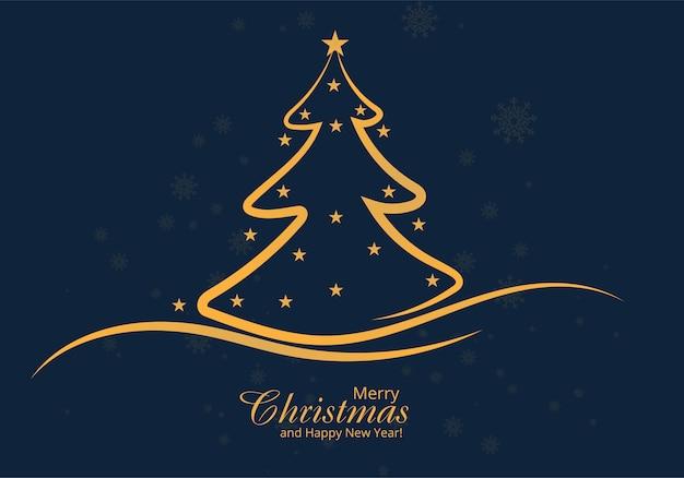 Diseño de tarjeta de árbol de línea de navidad artística