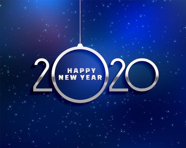 Diseño de tarjeta azul creativo feliz año nuevo 2020