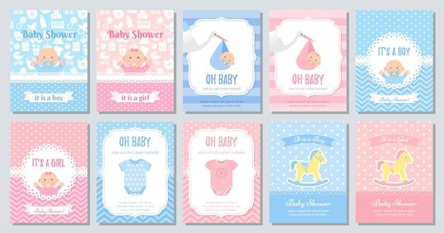 Diseño de tarjeta de baby shower. conjunto de invitación de plantilla