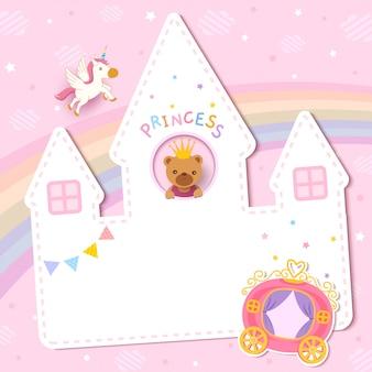 Diseño de tarjeta de baby shower con princesa oso en castillo