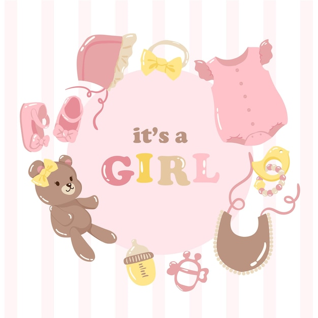 Diseño de tarjeta de baby shower set frame elementos de cosas de bebé para niña vector rosa y amarillo