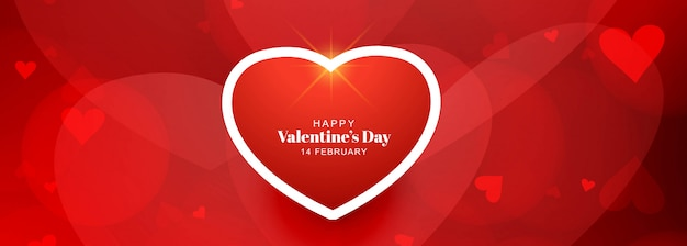 Diseño de tarjeta de banner de corazón de amor romántico