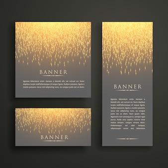 Diseño de tarjeta de banner de luz brillante de lujo en diferentes tamaños