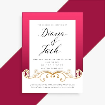 Diseño de tarjeta de boda floral hermosa