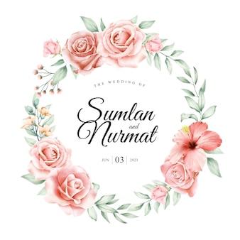 Diseño de tarjeta de boda guirnalda floral