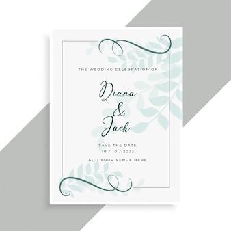 Diseño de tarjeta de boda hermosa con patrón de hojas