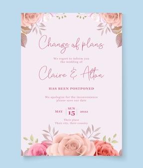 Diseño de tarjeta de boda pospuesta floral