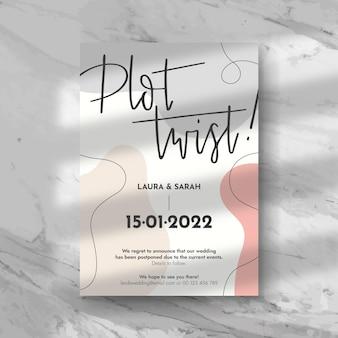 Diseño de tarjeta de boda pospuesta tipográfica