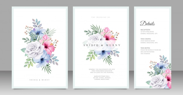 Diseño de tarjeta de boda ramo floral