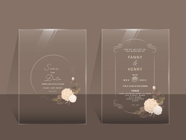 Diseño de tarjeta de boda transparente.