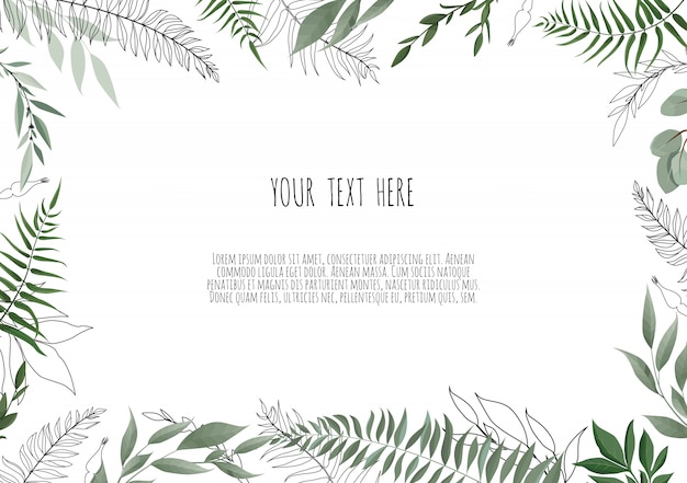 Diseño de tarjeta botánica floral vector con hojas