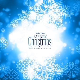 Diseño de tarjeta brillante de copos de nieve de invierno feliz navidad preciosa