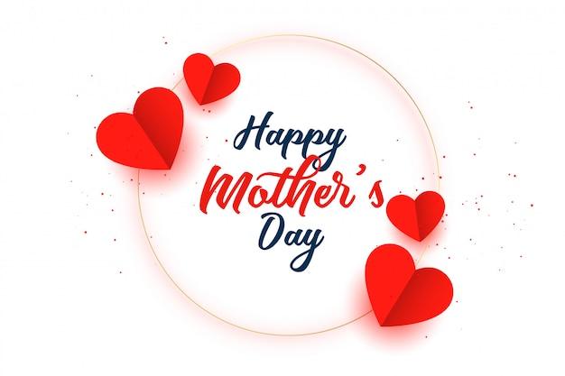 Diseño de tarjeta de celebración de corazones de madres feliz día