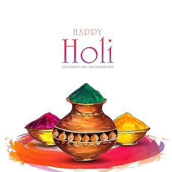 Diseño de tarjeta de celebración feliz festival holi