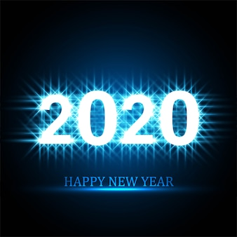 Diseño de tarjeta de celebración de texto de feliz año nuevo 2020