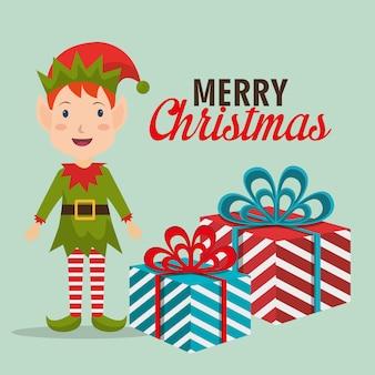 Diseño de tarjeta colorida de feliz navidad