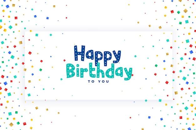 Diseño de tarjeta de confeti de celebración de feliz cumpleaños