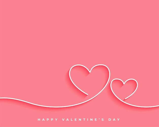 Diseño de tarjeta de corazón de línea de feliz día de san valentín