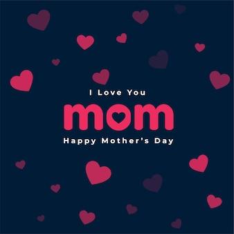 Diseño de tarjeta de corazones de feliz día de la madre