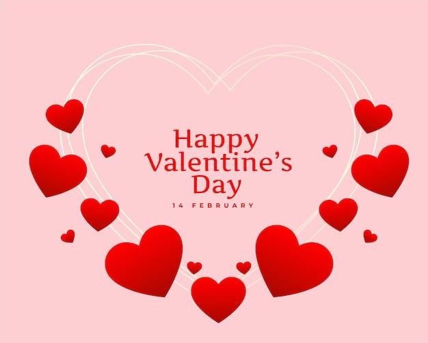 Diseño de tarjeta de corazones de feliz día de san valentín