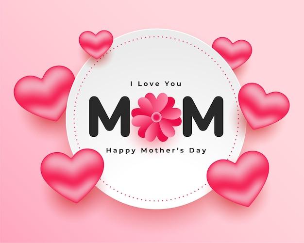 Diseño de tarjeta de corazones realistas del día de la madre