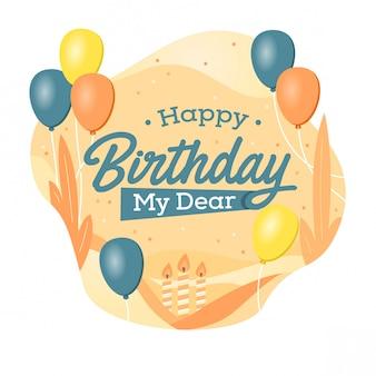 Diseño de tarjeta de cumpleaños color pastel