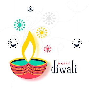Diseño de tarjeta decorativa feliz diwali colorido plano
