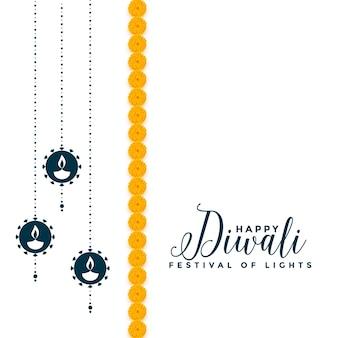 Diseño de tarjeta decorativa feliz festival diwali