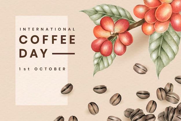 Diseño de tarjeta del día internacional del café.