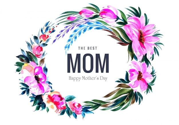 Diseño de tarjeta de día de la madre marco de decoración de flores circulares