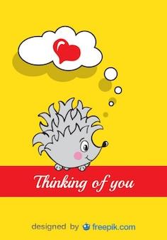 Diseño de tarjeta del día de san valentín de erizo de dibujos animados
