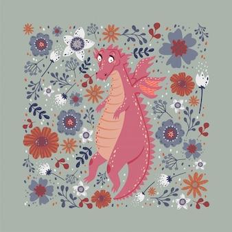 Diseño de tarjeta dragón con flores.