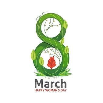 Diseño de tarjeta elegante de felicitación floral de marzo. feliz día de la mujer.