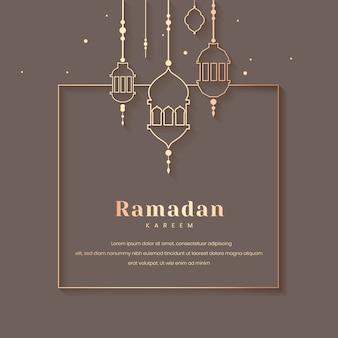 Diseño de tarjeta enmarcada ramadán