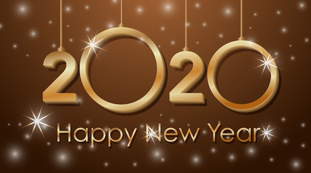 Diseño de tarjeta de felicitación para año nuevo 2020