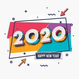 Diseño de tarjeta de felicitación de año nuevo 2020