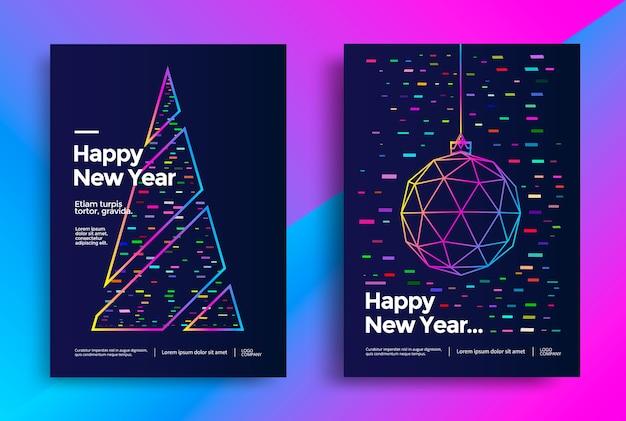 Diseño de tarjeta de felicitación de año nuevo con bola de navidad estilizada y árbol de navidad. ilustración vectorial