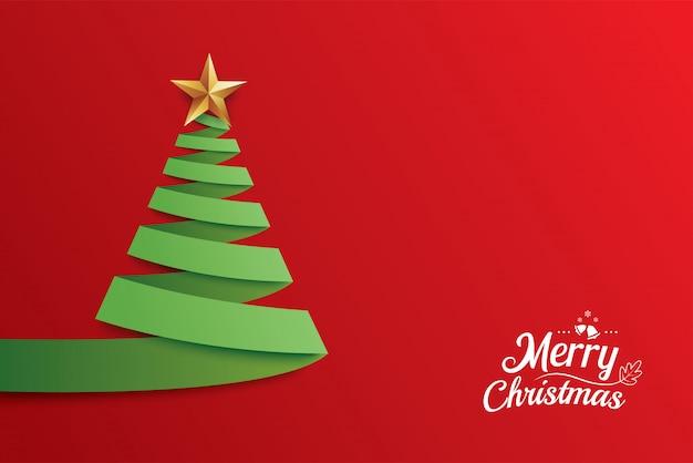 Diseño de tarjeta de felicitación de arte de papel de árbol de navidad