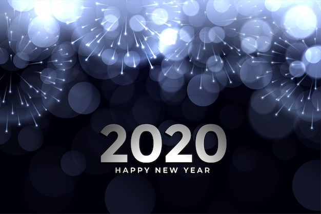 Diseño de tarjeta de felicitación de bokeh brillante de fuegos artificiales de año nuevo 2020