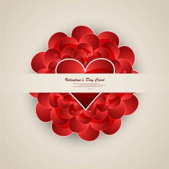 Diseño de la tarjeta de felicitación con corazones rojos